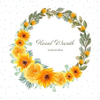 Akwarela wieniec kwiatowy ze wspaniałymi żółtymi kwiatami
