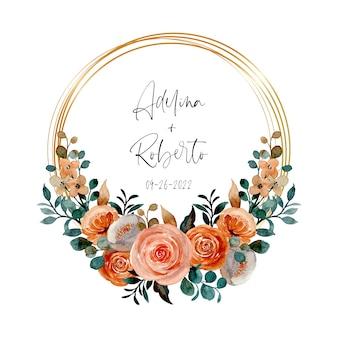 Akwarela wieniec kwiatowy ze złotą ramą