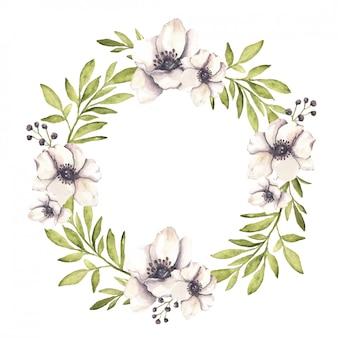 Akwarela wieniec kwiatowy