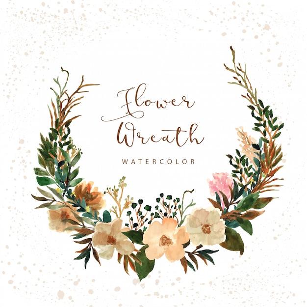 Akwarela wieniec kwiaty rustykalne
