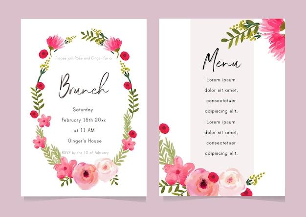 Akwarela wieniec luźny kwiat na ślub, przyjęcie, powitanie, zaproszenie, ulotkę, szablon karty mediów społecznościowych