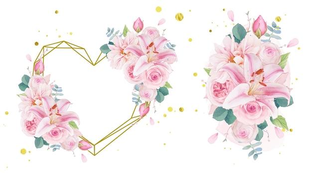 Akwarela wieniec miłosny i bukiet róż lilii i dalii