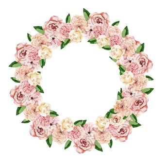 Akwarela wieniec ślubny z różowych i kremowych róż