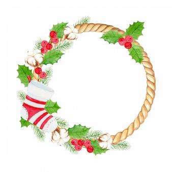 Akwarela wieniec świąteczny ze skarpetami świątecznymi, kwiatem bawełny, liśćmi ostrokrzewu i sosny