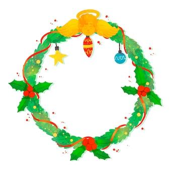 Akwarela wieniec świąteczny