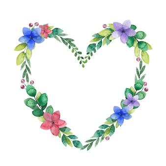 Akwarela wieniec w kształcie serca z leśnych kwiatów i gałązek