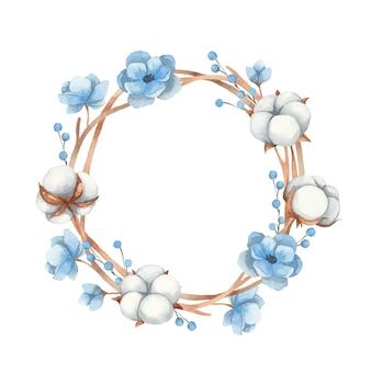 Akwarela wieniec z bawełnianych kwiatów, gałązek i niebieskich kwiatów anemonu. ilustracji wektorowych