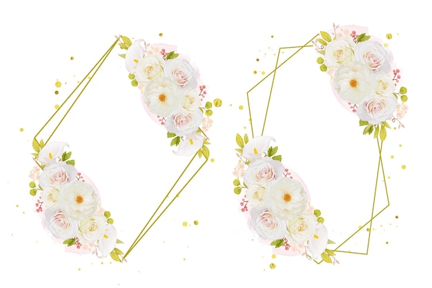 Akwarela wieniec z białych róż i lilii calla