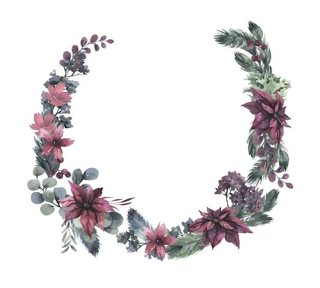 Akwarela wieniec z czerwonych kwiatów i zielonych liści.