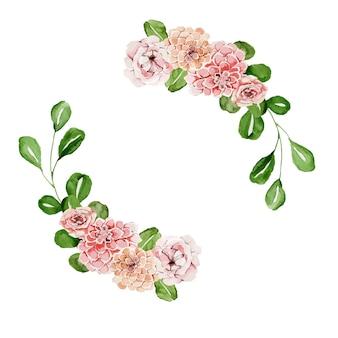 Akwarela wieniec z delikatnych różowych pięknych kwiatów