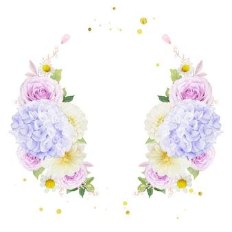 Akwarela wieniec z fioletowych róż dalii i kwiatu hortensji