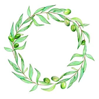 Akwarela wieniec z gałęzi drzewa oliwnego z liśćmi i oliwkami
