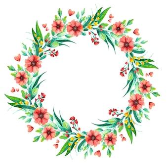 Akwarela wieniec z kwiatów, botaniczna kompozycja kwiatowa.