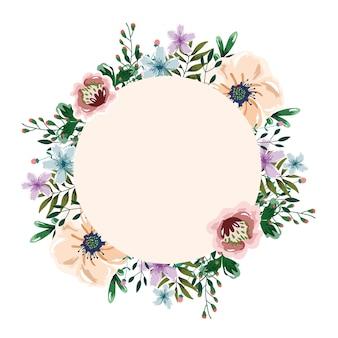 Akwarela wieniec z kwiatów kwiatów i ziół