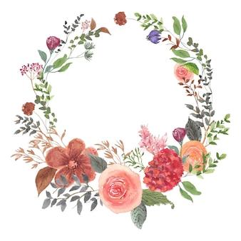 Akwarela wieniec z kwiatów ogrodowych