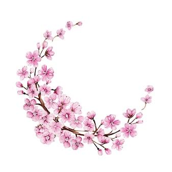 Akwarela wieniec z kwitnącą różową sakurą na wyjątkową okazję