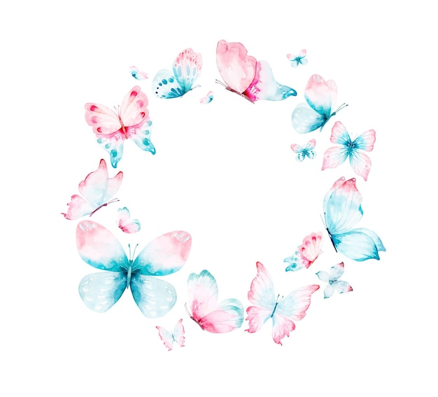 Akwarela wieniec z niebieskich różowych latających motyli