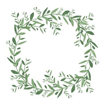 Akwarela wieniec z oliwek. ilustracja na białym tle wektor na białym tle.