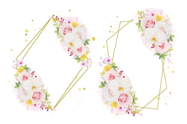 Akwarela wieniec z różowej róży i orchidei