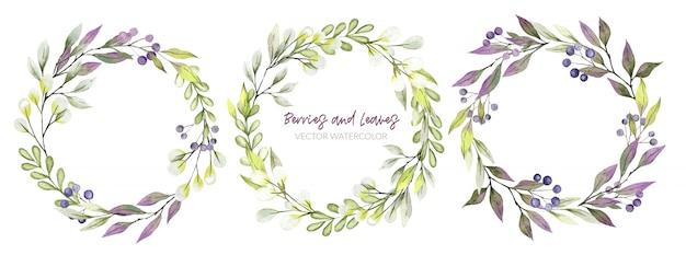 Akwarela wieniec zieleni, fioletowe i zielone odcienie, jagody