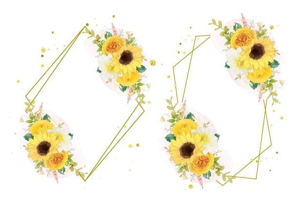 Akwarela wieniec żółtych kwiatów