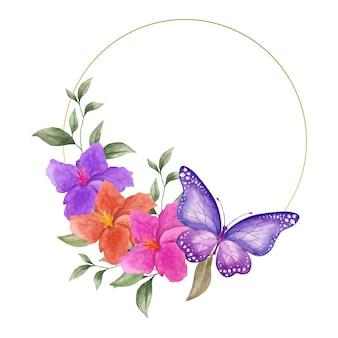 Akwarela wiosenna kwiecista ramka z pięknymi motylami