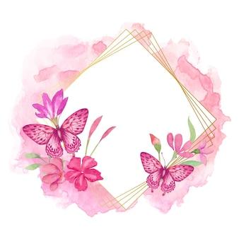 Akwarela wiosenna ramka kwiatowa z motylem