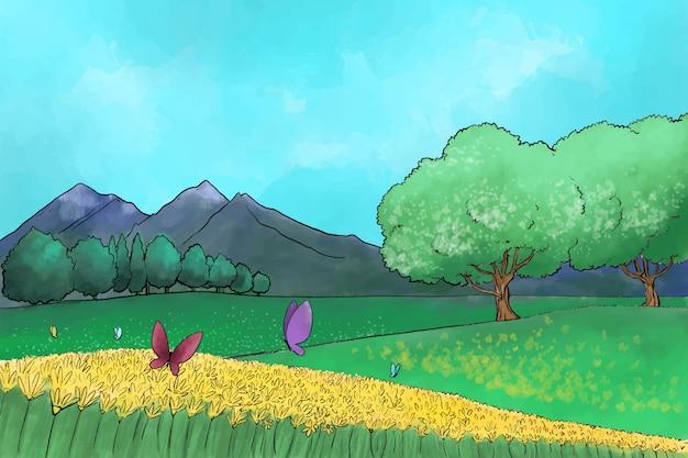 Akwarela wiosenny krajobraz