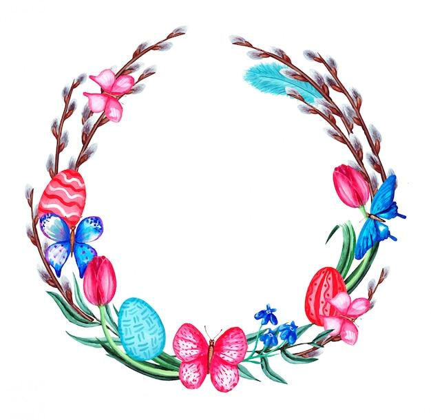Akwarela wiosenny wieniec wielkanocny z kwiatami, wierzbą cipki, motylem, piórami i jajkami. pojedynczo na białym tle.
