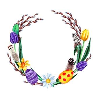 Akwarela wiosenny wieniec wielkanocny z kwiatami, wierzbą, piórami i jajkami. pojedynczo na białym tle.
