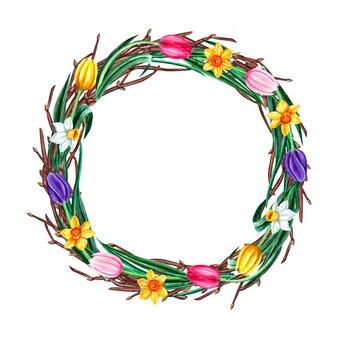 Akwarela wiosenny wieniec wielkanocny z kwiatami żonkil, tulipan i wierzby cipki. pojedynczo na białym tle.