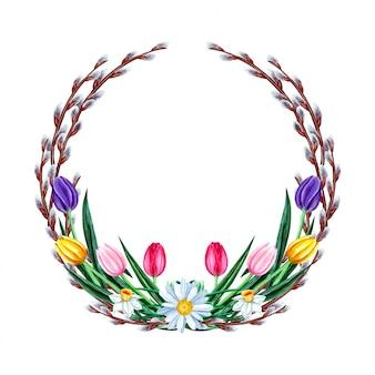 Akwarela wiosenny wieniec wielkanocny z kwiatami żonkila, tulipana, stokrotki, rumianku i wierzby cipki. pojedynczo na białym tle.