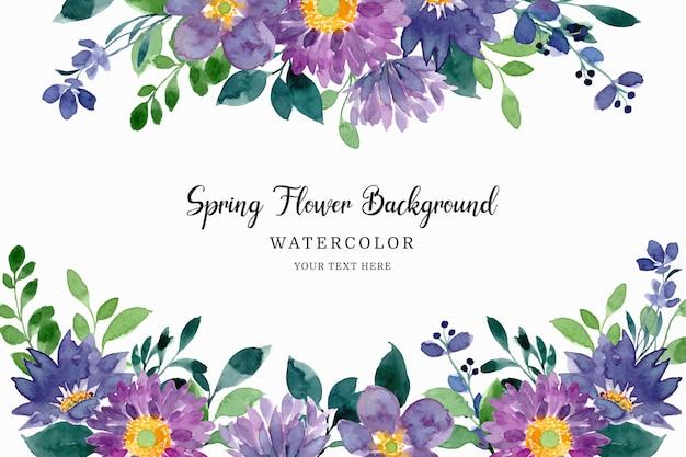 Akwarela wiosna fioletowy zielony kwiatowy tło