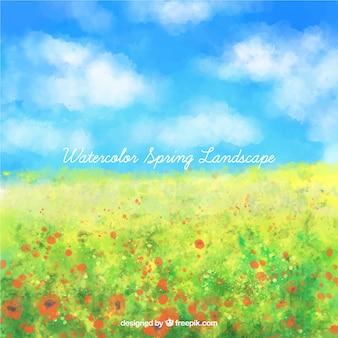 Akwarela wiosna krajobraz pe kwiaty