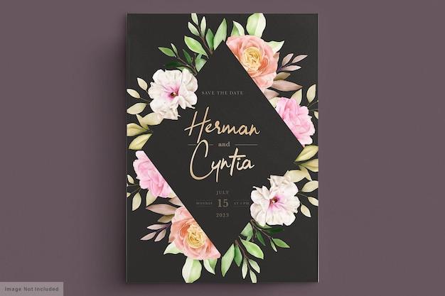 Akwarela wiosna kwiatowy i liści karta zaproszenie