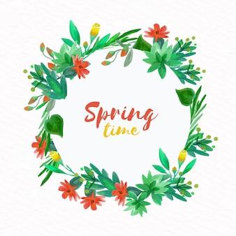 Akwarela wiosna kwiatowy rama dekoracji