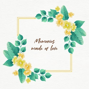 Akwarela wiosna kwiatowy rama z cytatem