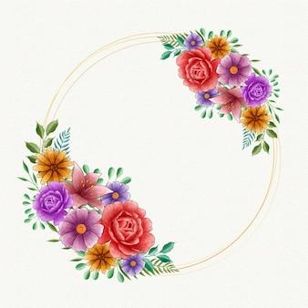 Akwarela wiosna kwiatowy rama z pustej przestrzeni