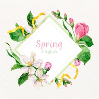 Akwarela wiosna kwiatowy rama