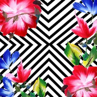 Akwarela wiosna kwiatowy tło z paskami
