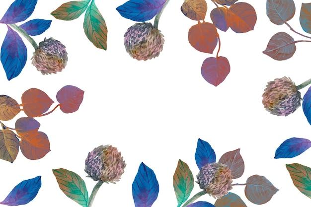 Akwarela wiosna kwiaty i liście tło