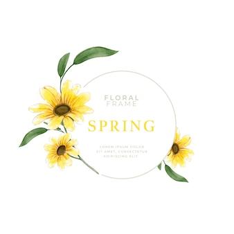 Akwarela wiosna ramka słonecznika