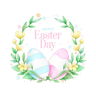 Akwarela wiosna wielkanoc wieniec kwiatowy z różowymi i niebieskimi jajkami