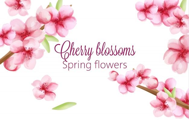 Akwarela wiśniowe kwiaty wiosenne kwiaty na łodydze z zielonymi liśćmi