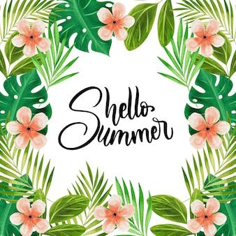 Akwarela witaj lato w otoczeniu liści i kwiatów