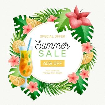Akwarela witaj letnia wyprzedaż