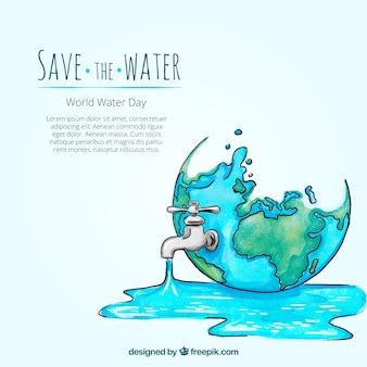 Akwarela wodny świat dzień tła z ręcznie rysowane kranu