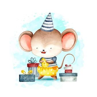 Akwarela wszystkiego najlepszego z okazji urodzin małej myszy