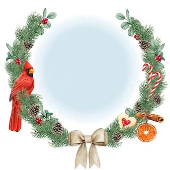 Akwarela wysokiej jakości wieniec bożonarodzeniowy z czerwonym kardynałem ptakiem