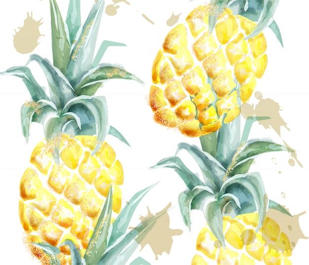 Akwarela wzór ananasa